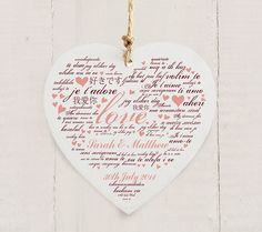 Personalised Love You Wooden Heart Decoration  Valentines Day Gift