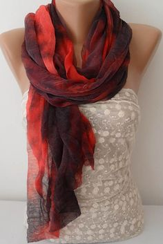 ON SALE Batik Ruffle Scarf Infinity Scarf by JasmineAccessory, $9.90