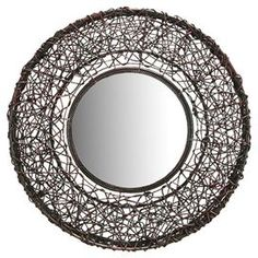 Bring depth and chic style to your d�cor with this eye-catching wall mirror, artfully crafted for lasting appeal.      Product: Wall mirror  Construction Material: Rattan and mirrored glass  Color: Brown    Dimensions: 25 Diameter x 2 D   Cleaning and Care: Clean with dry cloth