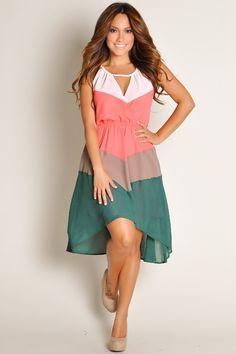 Multi-Color Sleeveless High Low Chiffon Dress