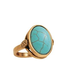 Coastal Color Ring KRR0056 $49 Brass, Stabilized Turquoise