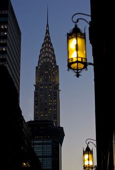 New York City Feelings - Chrysler Building with lamps by Jason Kuffer