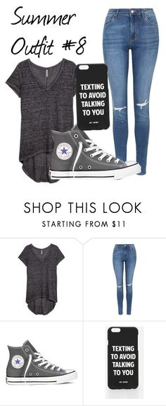 """""""Summer Outfit #8"""" by motionlesstaetae ❤ liked on Polyvore featuring H&M, Topshop, Converse and Jac Vanek"""