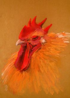 Béla Tarcsay (Hungarian, b. Rooster Painting, The Barnyard, Pastel Pencils, Chickens And Roosters, Pastel Drawing, Wildlife Art, Farm Animals, Art Sketches, Old Things