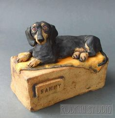 Custom dachshund urn - A cozy resting spot for a sweet low rider.