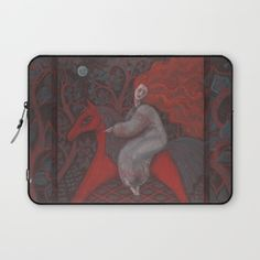 Red Horse, redhaired woman, magic night forest, folk art Laptop Sleeve by…