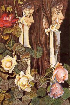 Double portrait of Eliza Pareńska - Artist Stanisław Wyspiański Polish-Russian playwright, painter and poet Art Et Illustration, Graphic Design Illustration, Art Nouveau, Blog Art, Photo D Art, Portraits, Art Deco Design, New Art, Painting & Drawing