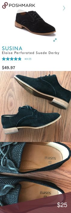1d38d8ae446 Susina Perforated black lace up loafers These are authentic suede Susina  sold at Nordstrom. They