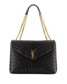 9537a9666 Get free shipping on Saint Laurent Loulou Monogram YSL Large V-Flap Chain  Shoulder Bag
