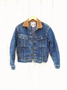 Vintage Lee Storm Rider Blanket Lined Denim Trucker Jacket Sz S M Union Made in USA 80s
