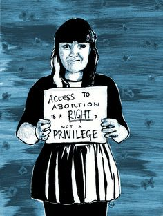 "Pro-Choice postcard 5x7in por MagrojaPrints ""Access to abortion is a right, not a privilege"""