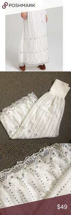 Free People Beaded Midnight maxi skirt Sz S Stunning Free People The Beaded Midnight white sequin detail maxi skirt with lace overlay. This is stunning and in excellent condition. Sz S  Smoke and Pet free home Free People Skirts Maxi