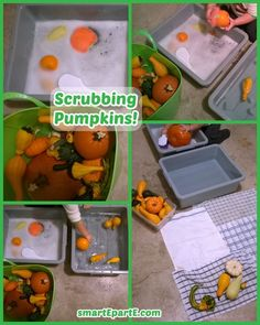 Scrubbing Pumpkins - practical and sensory fun for fall and Halloween! Projects For Kids, Art Projects, Crafts For Kids, Sensory Activities, Toddler Activities, Fall Pumpkins, Halloween Pumpkins, Tot Trays, Nature Crafts