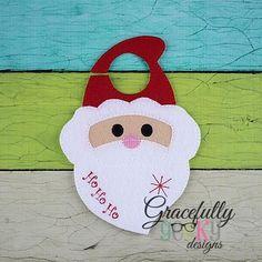 Santa Door Hanger Embroidery Design - 5x7 Hoop or Larger