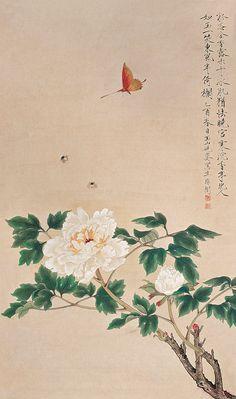 Yu Feian(于非闇) ,《白牡丹》立轴,1945年作