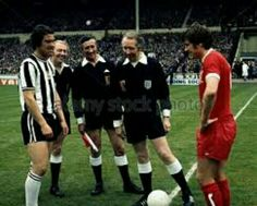 Liverpool 3 Newcastle Utd 0 in May 1974 at Wembley. The two captains, Bobby Moncur and Emlyn Hughes, meet before the FA Cup Final.