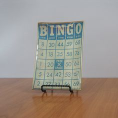 BINGO  Vintage Bingo Card Glass Serving Tray by FireflyVintageHome