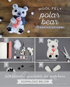 Plushie Patterns, Felt Patterns, Stuffed Toys Patterns, Kawaii Felt, Bear Felt, Cute Polar Bear, Felt Gifts, Felt Decorations, Felting Tutorials