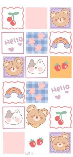 Cute Pastel Wallpaper, Soft Wallpaper, Bear Wallpaper, Cute Patterns Wallpaper, Cute Anime Wallpaper, Wallpaper Iphone Cute, Cute Cartoon Wallpapers, Stickers Kawaii, Cute Stickers