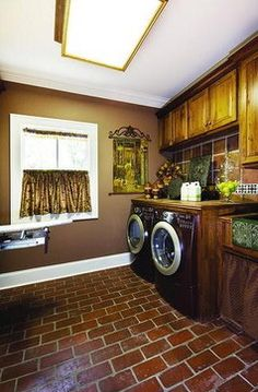Brown Brick Laundry Room traditional