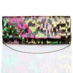 #KUNST Multicolour Sequins #clutch. Polyester hand embroidered sequins beaded clutch with peacock colours. #bollywoodandfashion
