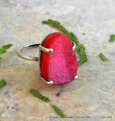 Druzy Agate Geode 925 Sterling Silver Ring     by CedarCreekCanada