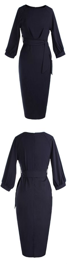 Azbro's Chic Lantern Sleeve Belted Slim Fit Midi Dress