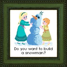 DIY Frozen Do you want to build a snowman? Elsa and Anna Digital Cross stitch pattern by sappymoosetree moosetreestitches on etsy, $5.00