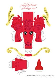 Happy lunar new year! 2012 is the year of the dragon and so I thought I'd make a little paper toy dragon freebie. I got carried away a little and so I now made 4 free printable paper dragon t… Chinese New Year Crafts For Kids, Chinese Crafts, Diy For Kids, Nouvel An Chinois Diy, Dragon Puppet, Toy Dragon, Chinese Birthday, 3d Pokemon, Dragon Mask