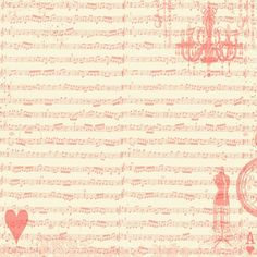 Free Digital Scrapbook Paper - Sheet Music Collage Red on Cream...