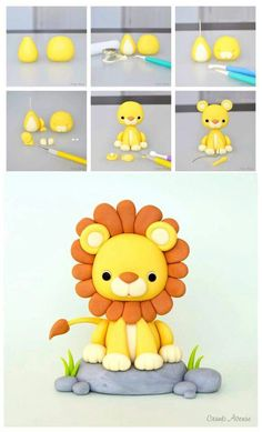 Fondant Lion Tutorial - this can be a cake or cupcake topper, depending on the size.Lion Tutorial by Crumb Avenue - For all your cake decorating supplies please vi. More info could be found at the image url. Lion Tutorial by Crumb Avenue - For all your ca Cake Decorating Supplies, Cake Decorating Techniques, Decorating Ideas, Fondant Cake Toppers, Fondant Cakes, Fondant Baby, Cupcake Fondant, Baking Cupcakes, Decors Pate A Sucre