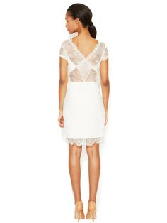 Nel Jersey Sheath Dress with Lace Accents by BCBGMAXAZRIA at Gilt