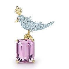 Bird On A Rock clip in platinum and 18k gold with a kunzite by Jean Schlumberger  for Tiffany & Co