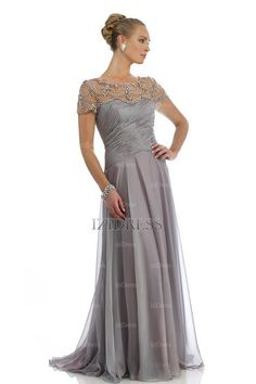 ... Jewel Sweep/Brush Train Chiffon Mother of the Bride Dress #IZIED12536