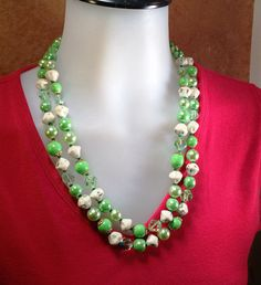 Vendome Necklace Green Crystals Art Beads and by CrowsNestAntiques