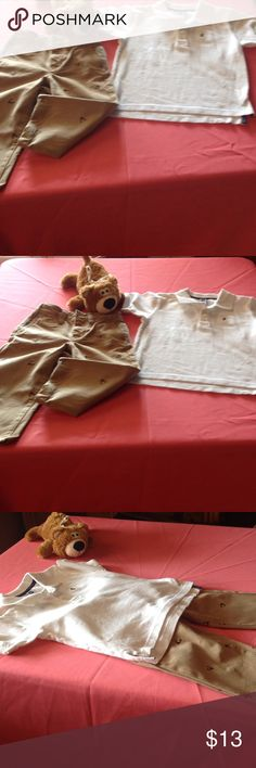 Little boys size 2 Gap set Cute little polo shirt in cream with a bear on front & canvas heavy weight pants with deer heads throughout in tan. Both in size 2 from Gap no stains or rips, from a smoke free home. Both pieces in very good pre owned condition. gap kids Matching Sets