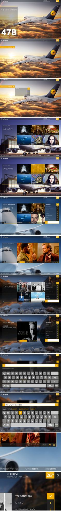 Lufthansa Inflight Entertainment System. #ui #ux #webdesign #lufthansa #app #graphic in Inspiration