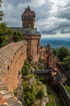 Haut-Koenigsbourg castle, France, looking towards the Black Forest, Germany.