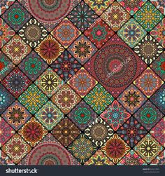 Colorful Vintage Seamless Pattern With Floral And Mandala Elements.Hand Drawn Background. Can Be Used For Fabric, Wallpaper, Tile, Wrapping, Covers And Carpet. Islam, Arabic, Indian, Ottoman Motifs. Стоковая векторная иллюстрация 543217891 : Shutterstock