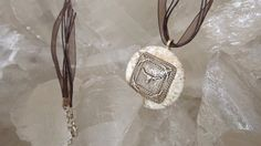 TEXAS PENDANT Concho NECKLACE set in White Turquoise Stone by argenesgems on Etsy