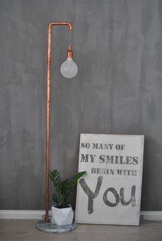Kalklitir Doloriet, DIY copper pipe lamp, quote