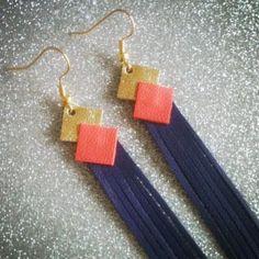 Boucles d\\'oreilles pendantes en cuir franges Lucky-Rosetta sur aliitleMarket.com