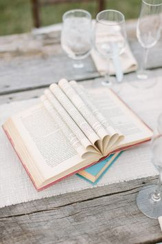 books used as table decorations