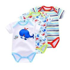 d0638d2f9b3c 3 Pieces lot Baby Boys Romper Animal style Short Sleeve cotton infant  rompers Jumpsuit cotton Baby Newborn Clothes