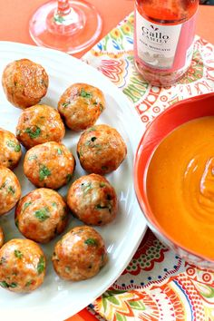 Thai Spiced Chicken Meatballs with Peanut Sauce