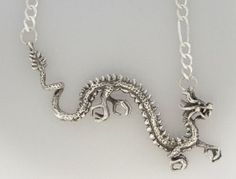 ASIAN DRAGON Pendant Necklace - Hand-Crafted Sterling Silver