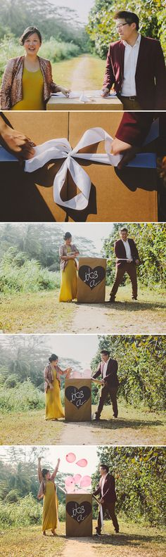 The cutest gender reveal shoot with a larger-than-life mystery box!