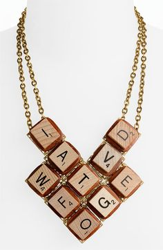 Scrabble letter necklace? I have a sneaking suspicion that I can probably make something similar... [Lenora Dame 'Board Game' Bib Necklace | Nordstrom]