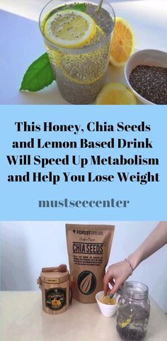 This honey, chia seeds and lemon based drink will speed up metabolism and help y. This honey, chia Healthy Detox, Healthy Drinks, Diet Drinks, Healthy Meals, Healthy Weight, Healthy Life, Healthy Eating, Eating Lean, Healthy Junk