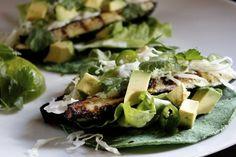 All GREEN Grilled Zucchini Tacos  Prickly Pear Cactus Tortillas  Butter Lettuce, Avocado, Shredded Green Cabbage, Cilantro, Serrano Chile  Lime Garlic Cilantro Sauce